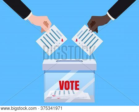 Hands Putting Voting Blancs Papers In Vote Box Transparent, Ballot Campaign. Vector Isolated Illustr