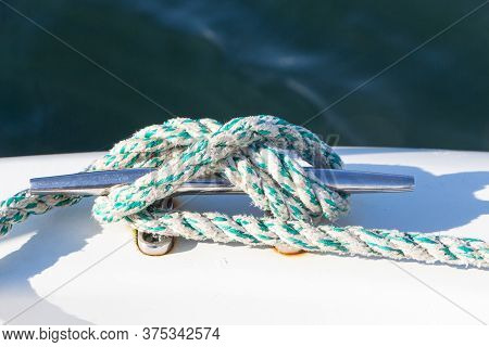 Knot With A Rope On A Boat's Cleat