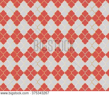 Arabic Mosque Vector Seamless Pattern. Argyle Rhombus Muslim Textile Background. Traditional Mosque