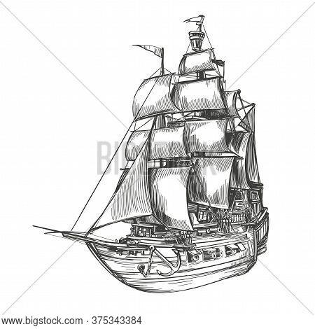Retro Old Ship Vintage Hand Drawn Vector Illustration Realistic Sketch