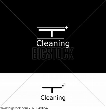 Logo Cleaning Service. Means For Cleaning Apartment. Bast In Hand. Set Cleaning Tools. Vector Illust