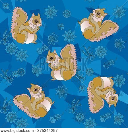 Seamless Pattern With Squirrels On Blue Background With Flowers.