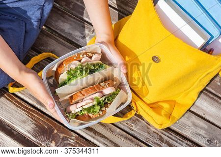 Lunch Box In The Hands Of A Child. Sandwiches In A Plastic Container. Snack, School Breakfast. Back