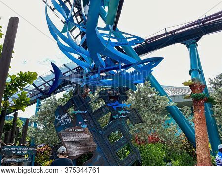 Orlando, Fl/usa-7/3/20: The Entrance To The Mako Rollercoaster Ride At Seaworld In Orlando, Florida.