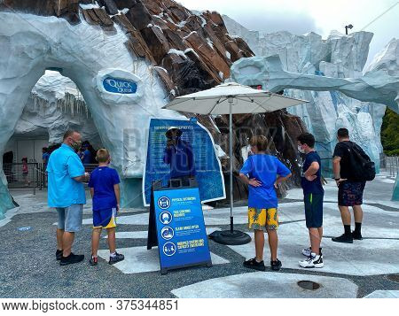 Orlando, Fl/usa-7/3/20: The Entrance To The Empire Of The Penguins Ride At Seaworld In Orlando, Fl.