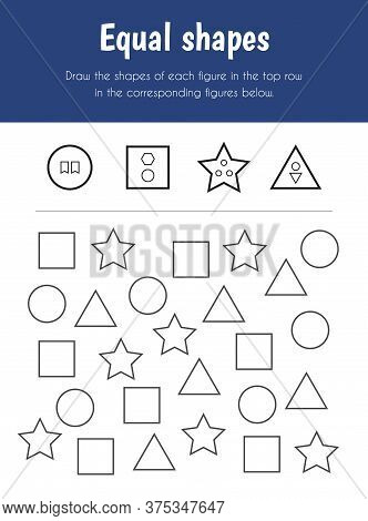 Equal Shapes Educational Sheet. Primary Module For Attention And Perception. 5-6 Years Old. Educatio