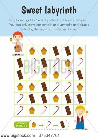 Sweet Labyrinth Educational Sheet. Primary Module For Attention And Perception. 5-6 Years Old. Educa
