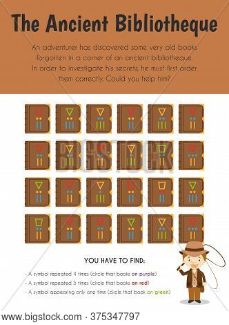 The Ancient Biblioteque Educational Sheet. Primary Module For Attention And Perception. 5-6 Years Ol