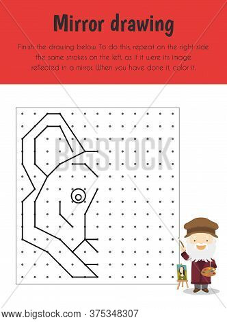 Mirror Drawing Educational Sheet. Primary Module For Spacial Understanding. 5-6 Years Old. Education