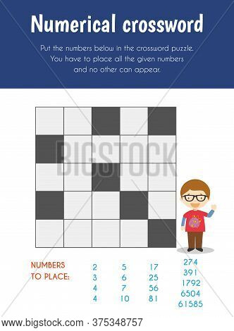 Numerical Crossword Educational Sheet. Primary Module For Logic Reasoning. 5-6 Years Old. Educationa