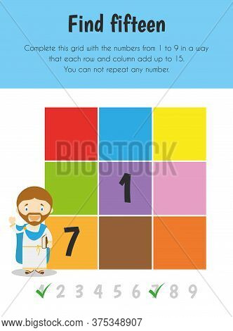 Find Fifteen Educational Sheet. Primary Module For Numerical Ability. 5-6 Years Old. Educational She