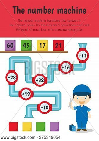 Number Machine Educational Sheet. Primary Module For Numerical Ability. 5-6 Years Old. Educational S