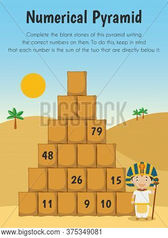 Numerical Pyramid Educational Sheet. Primary Module For Numerical Ability. 5-6 Years Old. Educationa