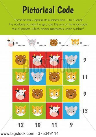 Pictorical Code Educational Sheet. Primary Module For Numerical Ability. 5-6 Years Old. Educational