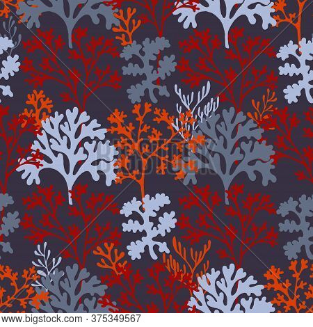 Coral Reef Underwater Plans Vector Seamless Pattern. Aquarium, Ocean And Marine Algae Water Plants,