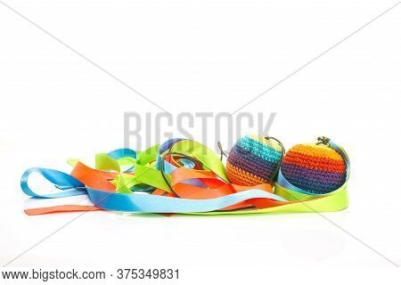 Poi Balls, Juggling Balls With Colored Bows Handmade With Multicolored Crochet, Isolated On White Ba