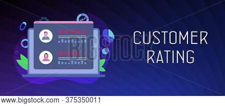 Customer Rating, Online Reputation Management System. Laptop With Customer Review Rating Messages. K