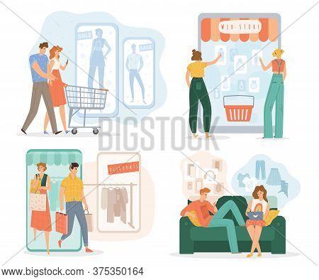 Man Woman People Shopping Online Via Mobile Application Set. Choose, E-order, Wireless Payment, Deli