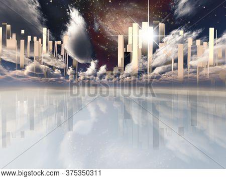 Heavenly City in the sky. 3D rendering