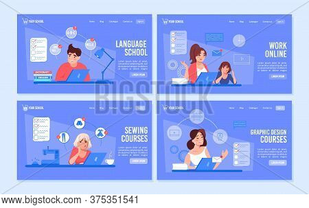Online Education Courses. Language Class, Graphic Design Lesson, Sewing Clothes Modeling Training. R