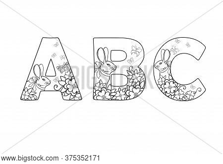Abc. Three Letters Decorated With Flowers, Butterflies And Rabbits - A Linear Picture For Coloring.