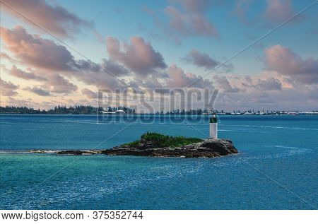 A Small Beacon On A Small Island In The Bay On Bermuda