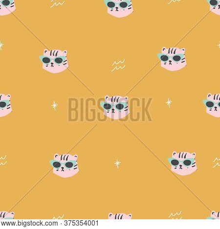 Seamless Retro Simple Leopard Head With Cat Eye Glasses Seamless Repeat Gold Pattern With Light Pink
