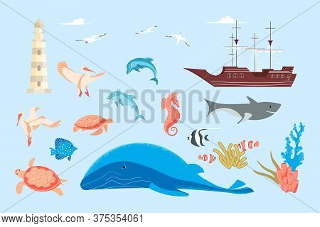 Set Of Nautical Elements And Ocean Life - Animals, Birds, Fishes. Undersea Fauna Of Tropics, Sea Wor