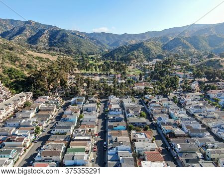 Aerial View Of Avalon Downtown In Santa Catalina Island, Famous Tourist Attraction In Southern Calif