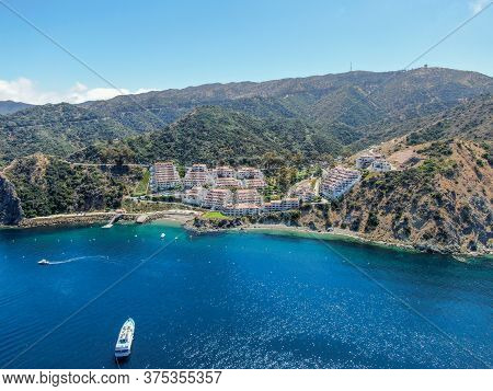 Aerial View Of Hamilton Cove With Apartment Condo Building On The Cliff, Santa Catalina Island, Famo