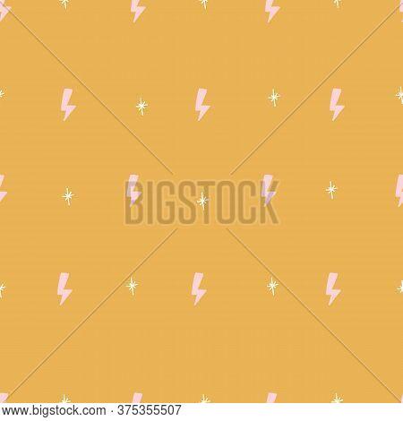 Seamless Gold Background Retro Hipster Lightening Bolt Trendy Pattern.