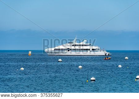 Catalina Express Speedboat Next To Santa Catalina Island, , Famous Tourist Attraction In Southern Ca