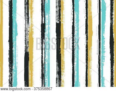 Watercolor Brush Stroke Straight Lines Vector Seamless Pattern. Handmade Summer Fashion Design. Old