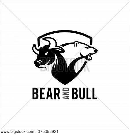 Bear And Bull Trading Logo Template, Animal Vector And Business Finance Modern Design Template Inspi