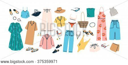 Set Of Summer Fashion Clothes Vector Flat Illustration. Collection Of Trendy Clothing For Vacation O