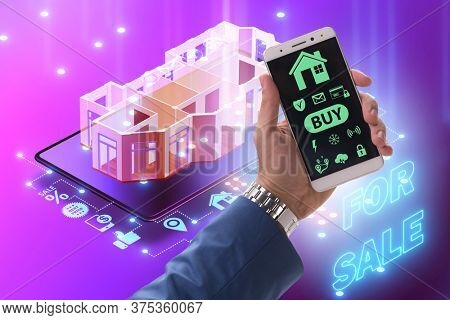 Concept of buying real estate over internet