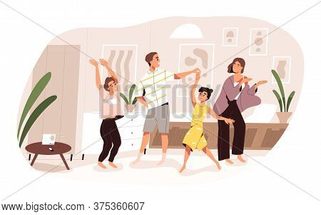 Smiling Family Dancing Having Fun At Home Vector Flat Illustration. Joyful Parents And Kids Clapping