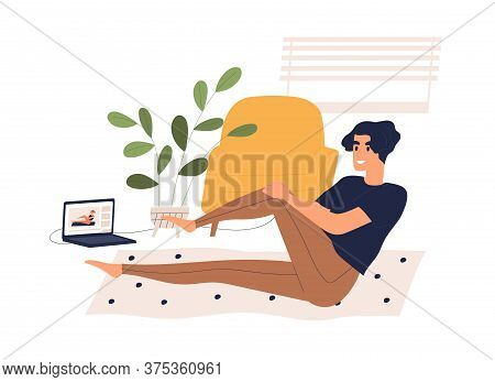 Man Training At Home Watching Online Classes Vector Flat Illustration. Male Doing Fitness Exercise L