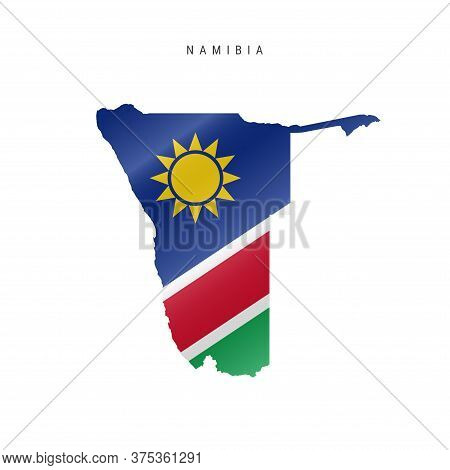 Detailed Waving Flag Map Of Namibia. Vector Map With Masked Flag.