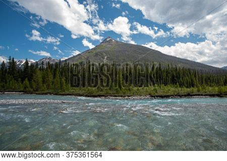 A Picture Of Vermillion Peak And Kootenay River.  Kootenay National Park,  Bc Canada