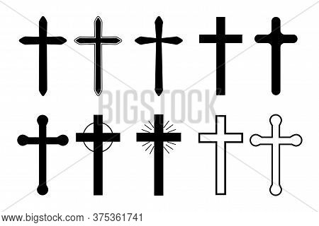 Sketch Of The Cross. Vector Icon Of Christian Symbol. Silhouette Of A Religious Crucifix. Catholic S