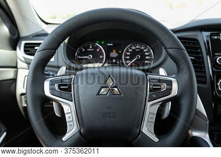 Novosibirsk/ Russia - July 07 2020: Mitsubishi Pajero Sport, Luxury Car Interior - Steering Wheel, S