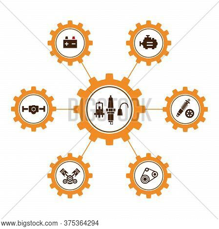 A Group Of Vector Images, Icons And Logo With Car Parts, Batteries, Transmission, Electrical Equipme