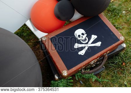 Decorations For The Birthday. Concept Of Childrens Birthday In A Pirate Style. Photozone For A Pirat