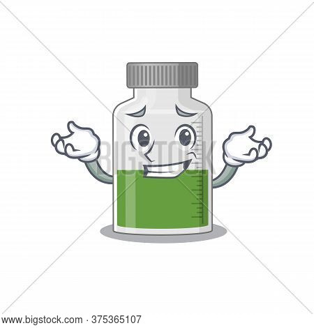A Cute Picture Of Grinning Vitamin Syrup Caricature Character