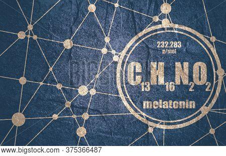 Melatonin Hormone Chemical Formula. In Humans, It Plays A Role In Circadian Rhythm Synchronization.