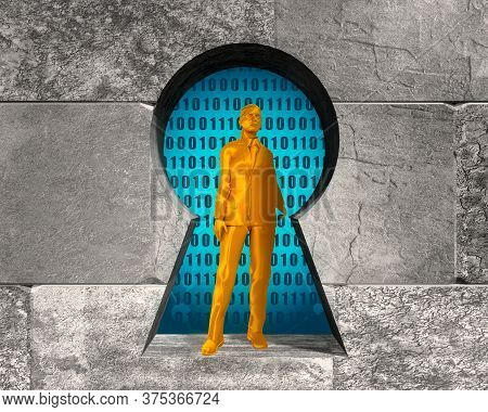 Woman Stay In Ey Hole In The Concrete Blocks Wall. 3d Rendering. Algorithm Binary, Data Code, Decryp
