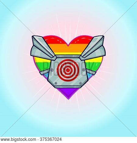 Animation Rainbow Colored Heart The Heart In The Armor Is Forced To Defend Itself. Gay Pride. Lgbt C