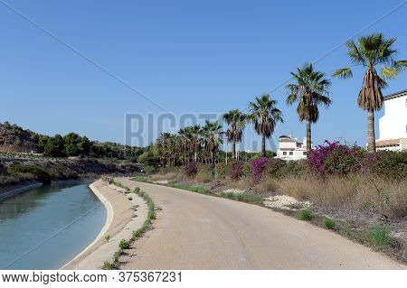Orihuela, Costa Blanca, Spain - September 21, 2018:water Channel In Orihuela Costa. Spain