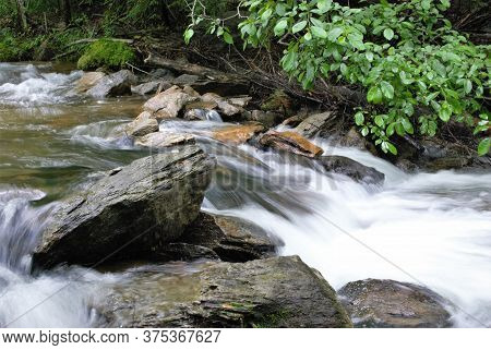 Slow Motion Mountain Stream After A Heavy Rain.